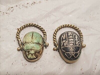 Rare Antique Ancient Egyptian 2Bronze Rings Scarabs Good Luck Hirogly1810-1740BC