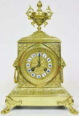 Stunning Antique French 8Day Striking Embossed Bronze Ormolu Ornate Mantle Clock