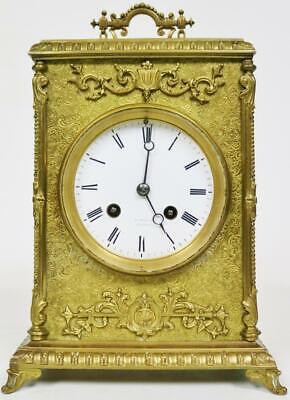 Stunning Antique French 8Day Striking Engraved Brass Large Carriage Mantle Clock
