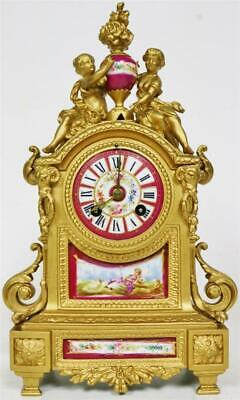 Superb Antique French 8 Day Gilt Metal & Deep Red Sevres Porcelain Mantle Clock