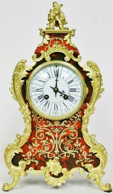 Sublime Antique French 8 Day Red Shell & Bronze Mount Inlaid Boulle Mantle Clock