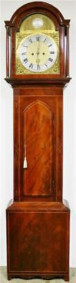 Antique English C1800 8 Day Striking Flame Mahogany Regulator Longcase Clock