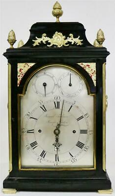 Rare Antique English 18thC Triple Fusee Verge 6 Bell Musical Bracket Clock