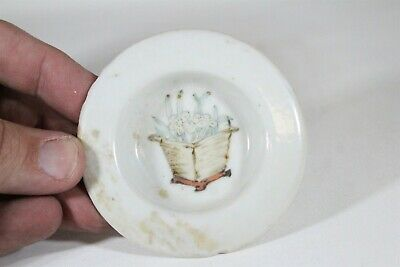 Old Chinese Porcelain Flowers in Basket Painted Round Sip Lid