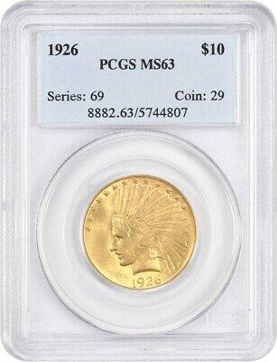 1926 $10 PCGS MS63 - Indian Eagle - Gold Coin - Gold Type Coin