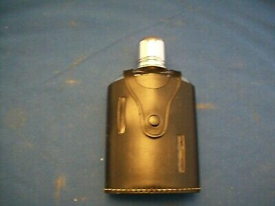 Vintage Allan Products Made In England Leather Covered Glass Hip Flask