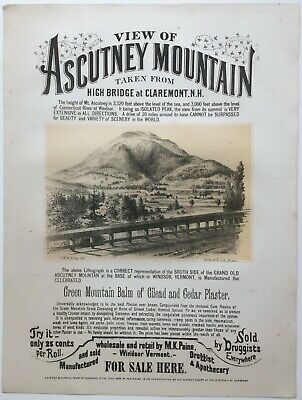 """Antique Poster Advertisement, """"View of Ascutney Mountain,"""" circa 1868"""