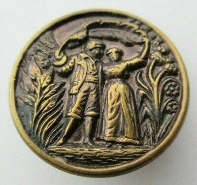 "Wonderful Antique~ Vtg Victorian Metal Picture BUTTON w/ Detailed Couple 1"" (U)"