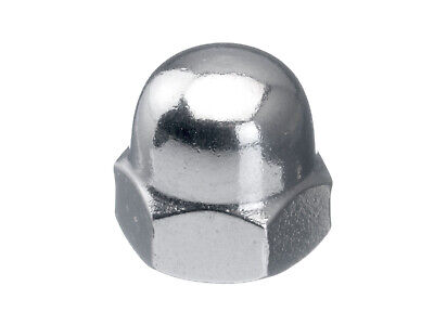 100x Hexagon domed cap nut, high type MF DIN 1587 Stainless steel A2 70 M10X1,00