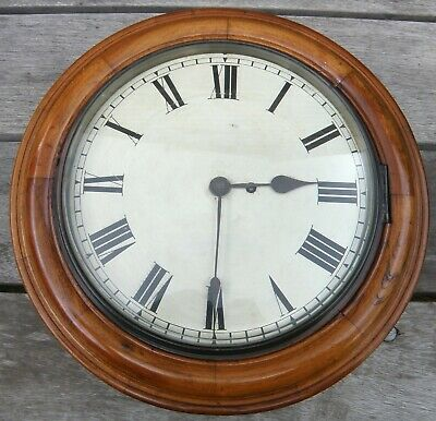 Antique Mahogany Railway / Schoolhouse Wall Clock c.1880 - Fusee Movement