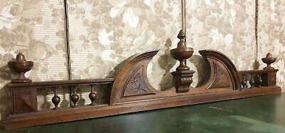 Architectural salvage finial spindle pediment Antique french wood crest cornice