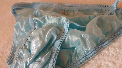 Blue Silky 1960's/70's BMOC Panties Vintage String Bikini Brief Knickers  S 10