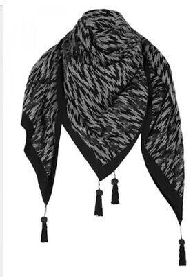 sass and bide Oracle Petals Large Black & Grey Sequin Scarf Excellent Condition