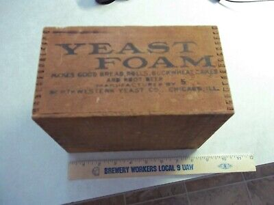 Very Old YEAST FOAM WOOD WOODEN BOX Chicago Illinois Il. Tongue + Groove Kitchen