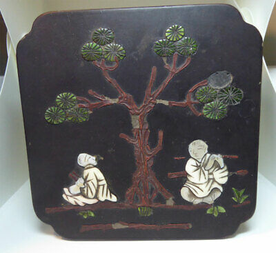 Antique Chinese Paper Mache Lacquer Box Inlaid Shell Mosaic Figures & Pine Tree