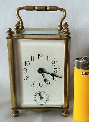 Carriage Alarm Clock Antique Antique Fully Working With Key 13cm High