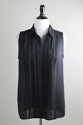 CABI $89 Modern 3266 Button-Up Jagger Lace Semi Sheer Blouse Top Size Large