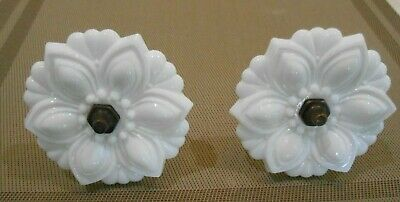 Vintage white pressed glass flower curtain tie back