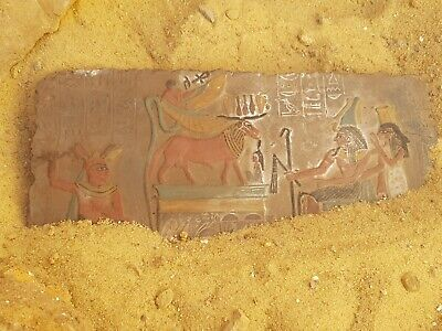 Rare Antique Ancient Egyptian Stela king Amenhotep Gods Ram Snack priest1504 BC