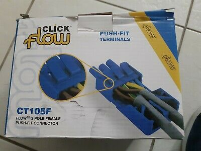 Click CT105F Flow 20A 3P Female Push Fit Connector Pack Of 5