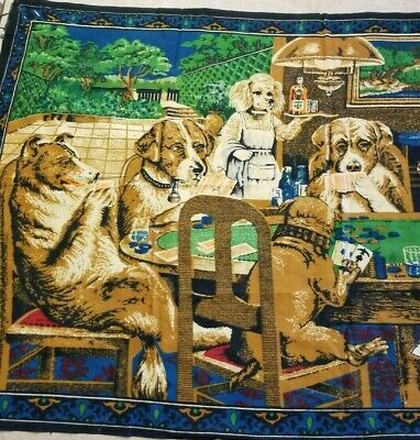 Vintage Wall Tapestry Velvet Style Dogs Playing Cards Art 33 x 52""