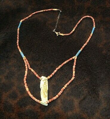 Nile Ancient Egyptian Faience Horus Mummy Bead Necklace 23""