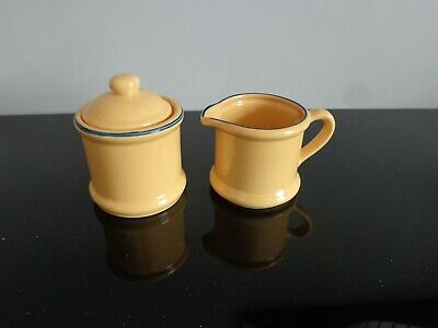 Vintage - Porcelain Yellow/ Navy border = Milk Jug and Sugar Bowl with Lid