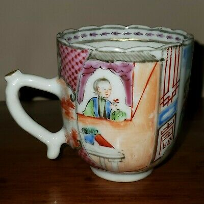 Antique 18Th Century Chinese Export Famille Rose Porcelain Cup