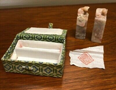 Pair of Antique Vintage Chinese Carved Jade Stone Ink Stamps Bull & Rat in Box
