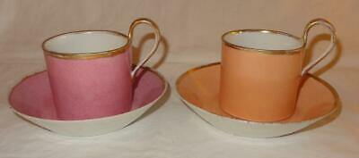 Pair Unusual Early 19th Century English Porcelain Coffee Cans Cups & Saucer