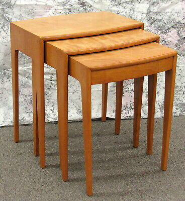 Rare Mid Century Modern Heywood Wakefield Solid Maple Stacking Nesting Tables