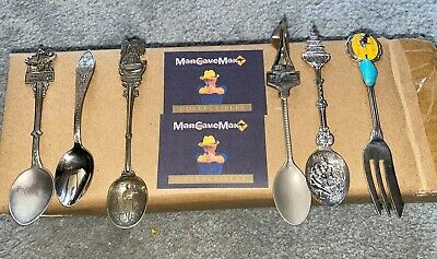 6 Vintage Silver Plated Collectable Souvenir Spoons