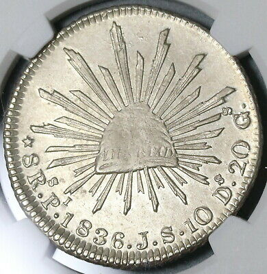 1836-Pi NGC AU 58 Mexico 8 Reales Potosi Mint Silver Coin (20040401C)