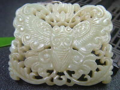 Antique Chinese Celadon Nephrite Hetian-OLD Jade Butterfly Statue/Pendant