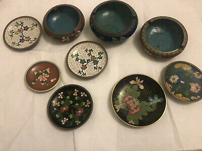 Antique Chinese Export Cloisonne Plates And ashtrays Vintage Asian Old China
