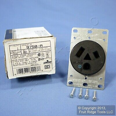 Leviton Straight Blade Receptacle Power Outlet Flush Mount 7-50 50A 9750-A Boxed