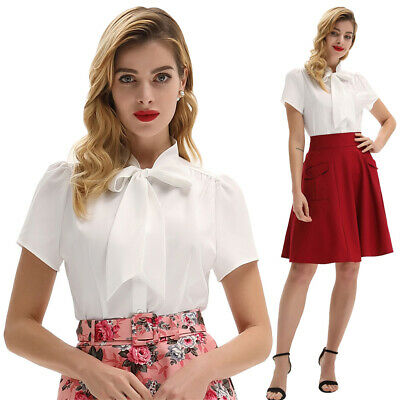 Belle Poque Women's Short Sleeve Bow-Knot Cotton Shirt Tops Casual Blouse