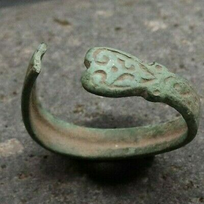 Ancient Old Bronze FABULOUS STATUS Ring Runic Ornament VERY RARE