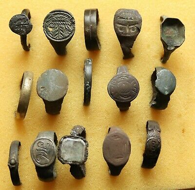 Job Lot Of 15 Authentic Medieval Bronze Rings