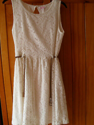 GIRLS MISS EVIE CREAM LACE LINED DRESS SIZE 10yrs