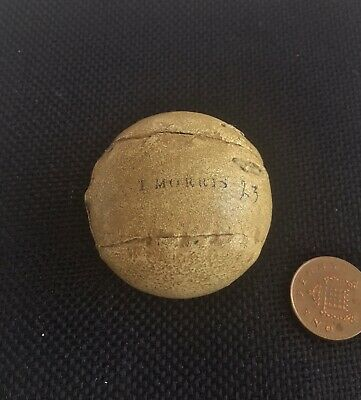 """Feathery Golf Ball-""""T.morris"""" Exquisite!-Antique Aged Patina-Hickory-Collectable"""