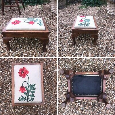 🌟Vintage Small Carved Wooden Tapestry Topped Footstool Stool