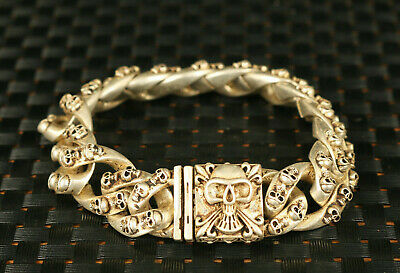 collectable chinese old tibet silver hand cast cool skull statue bracelet jewel