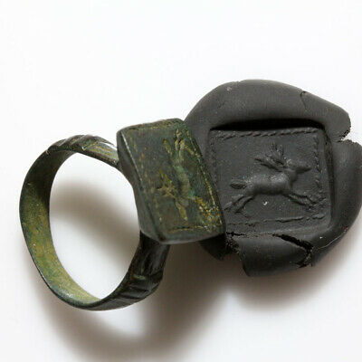 A Perfect Ancient Roman Bronze Seal Ring With Animal Depiction Circa 300 Ad