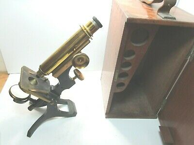 Antique Brass Microscope C.1898 W Watson & Sons London Mahogany Case S/N 4172