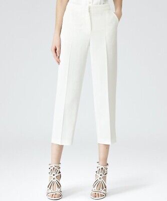 Reiss Size 14 White Cropped Trousers Wide Leg Culottes Style Luzia Smart Work