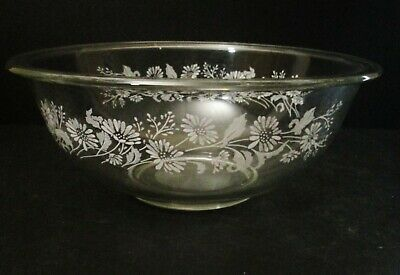 Pyrex Clear Glass Painted Flora 4 Pc Friendship Forever Yours Mixing Bowls Nest