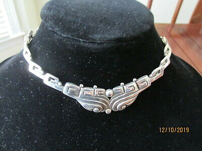 Margo de Taxco Sterling Silver Necklace pre Columbian Style Mexican  Vintage