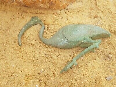 Rare Antique Ancient Egyptian Bronze Statue God Toth Ibis Bird Sceince 1680 BC