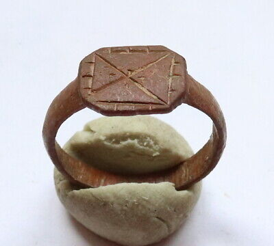 Ancient Viking Old Bronze FABULOUS STATUS Ring Runic Ornament VERY RARE